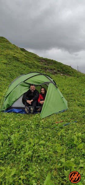 Srikanth Natarajan and his wife enjoying the Vijay Top Trek in Tent