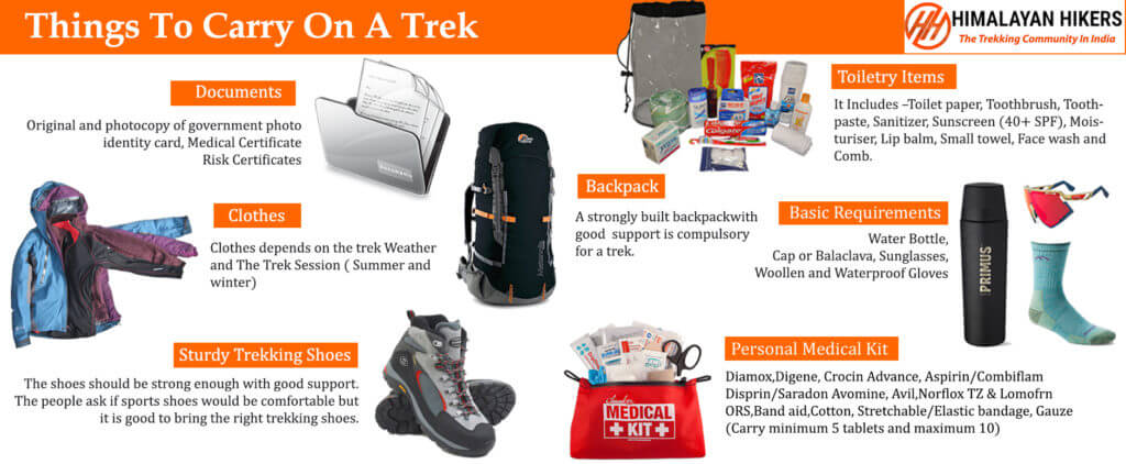Things to carry on trek